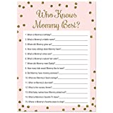 Who Knows Mommy Best Baby Shower Game - 24 count - (Faux Gold Glitter on Pink)