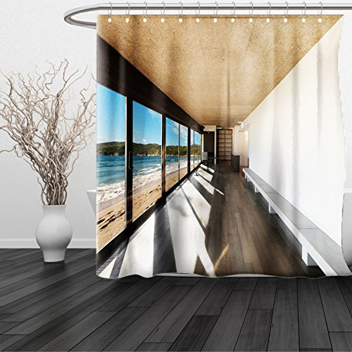 HAIXIA Shower Curtain Beach Theme Coastal Home Design Ocean Sea Waves Sand Image Light Brown White and Sky Blue