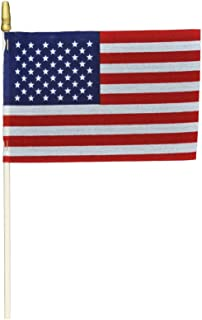 """product image for Hand Held American Flags on Sticks 12-Pack 4""""x6"""" Made in USA, Sold by Vets, American Quality, Vivid Colors, Rain Proof, Kid-Safe Spear Top. Perfect for Parades, Scout Troops, Returning Servicemen"""