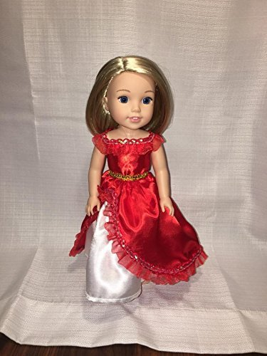 Fits 14.5 inch Wellie Wishers Doll Clothes Red White Princess Spanish Elena Inspired Dress NO DOLL