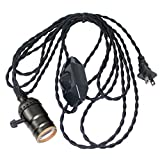 Vintage Pendant Light Socket with Dimmer, Sopoby Pendant Lamp Holder with 13.1ft Twisted Black Cloth Cord Hanging Light Fixture for Bulb E26/E27 Base, Industrial DIY Projects