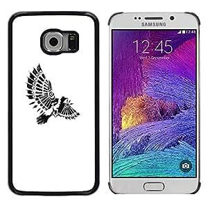 Planetar® ( Bird Paraplane Indian Feathers White ) Samsung Galaxy S6 EDGE / SM-G925 / SM-G925A / SM-G925T / SM-G925F / SM-G925I Fundas Cover Cubre Hard Case Cover