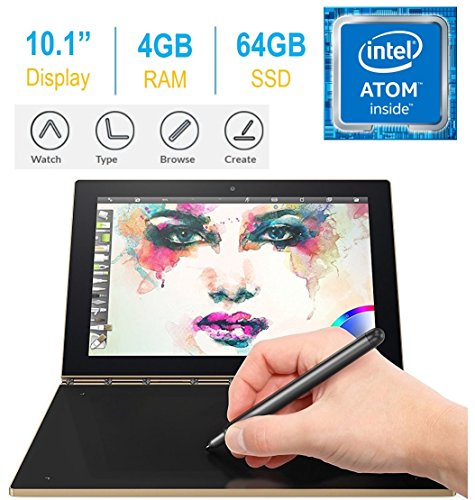 2017 Newest Lenovo Yoga Book 10.1″ FHD Touch IPS 2-in-1 Convertible Tablet PC, Intel Atom x5-Z8550 1.44GHz, 4GB RAM, 64GB SSD, Bluetooth, HD Graphics, Android 6.0.1 Marshmallow OS- Champagne Gold