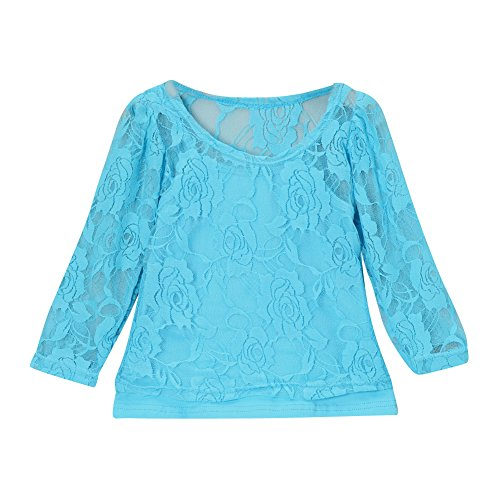 Girls Lace Long Sleeve Tee & Camisole (4T, Turquoise)