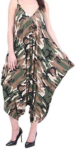 Damen Damen Strand Sommer Cami Unterhemd Dünne Träger Riemchen Lagenlook Strampler Baggy Harem Overall 8 bis 30 GB Größe Camouflage Grün VQBfhMwKpS