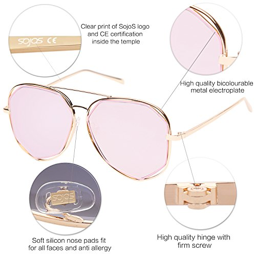 7f1a6a1013ca6 SojoS Fashion Metal Frame Flat Mirrored Lens Sunglasses SJ1004 With Gold  Frame Pink Lens  Amazon.ca  Clothing   Accessories