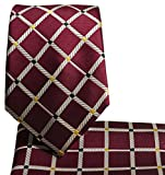 Slim Necktie and Pocket Square Burgundy One Size