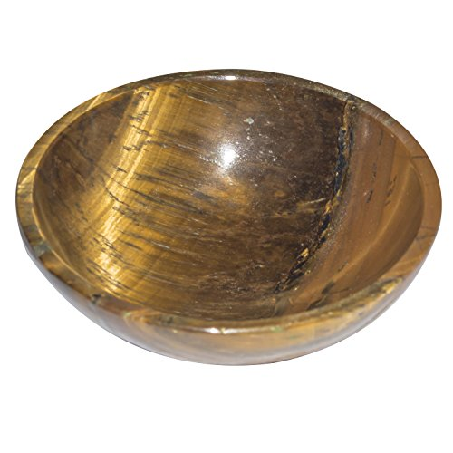 Crocon Tiger Eye Natural Gemstone Hand Carved Bowl Feng Shui Reiki Healing Devotional Focus Spiritual Chakra Cleansing Size: 2 Inches