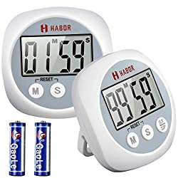 Habor 【2 Pack】 Cooking Timer, Digital Cooking Timers, Big Digits and Loud Alarm Kitchen Timer, Minute Second Count up Countdown timer for Cooking Baking Sports Games Office (Batteries Included)