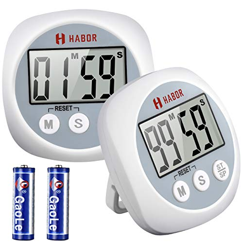 Habor Cooking Timers (2 Pack ), Digital Kitchen Timer with Loud Beep Alarm, Strong Magnet Second Minute Count up & Countdown Timer for Cooking Baking Sports Game Office (Batteries Included)