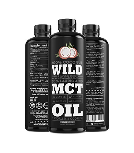 Cheap Wild MCT Oil 100% Coconuts Flavorless C8/C10/C12 Blend Non-GMO Liquid Brain Fuel Great For Smoothies, Coffee, Keto, Protein Shakes – 16oz BPA-Free Bottle