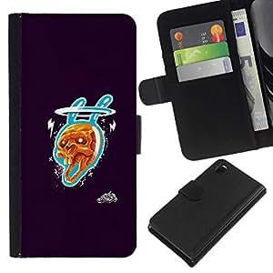 NEECELL GIFT forCITY // Billetera de cuero Caso Cubierta de protección Carcasa / Leather Wallet Case for Sony Xperia Z3 D6603 // Cráneo Conejo