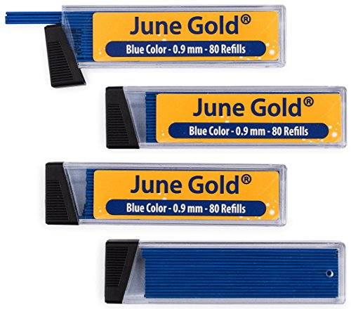 June Gold 320 Blue Colored Lead Refills, 0.9 mm, Bold Thickness for Moderate Use, Break Resistant with Convenient Dispensers