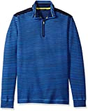 BUGATCHI Men's Quarter Stripe Zip Sweater