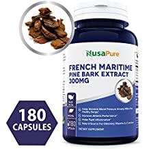 French Maritime Pine Bark Extract 300mg 180 Capsules (Non-GMO & Gluten Free) Supports Heart Health, Circulatory Health, Skincare, Eye Health, Joint Care, Made in The USA, 100% Money Back Guarantee