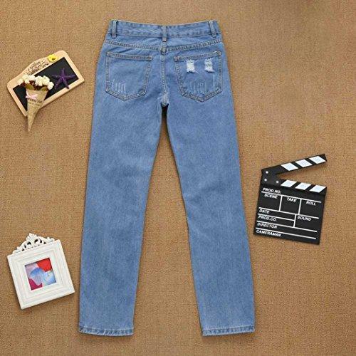 A Pizzo In Vita Stretti Jeans Blu Donna Strappati Skinny Slim Alta Uomogo Pantaloni Sexy afn4RZqaw