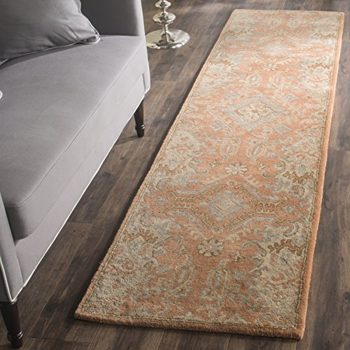 13' Wool - Safavieh Wyndham Collection WYD203A Handmade Terracotta Wool Runner, 2 feet 3 inches by 13 feet (2'3