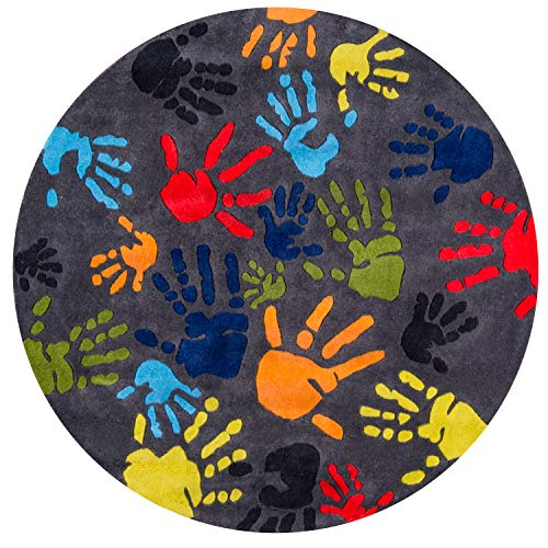 Momeni Rugs LMOJULMJ17GRY500R Lil' Mo Whimsy Collection, Kids Themed Hand Carved & Tufted Area Rug, 5' Round, Multicolor Handprints on Grey