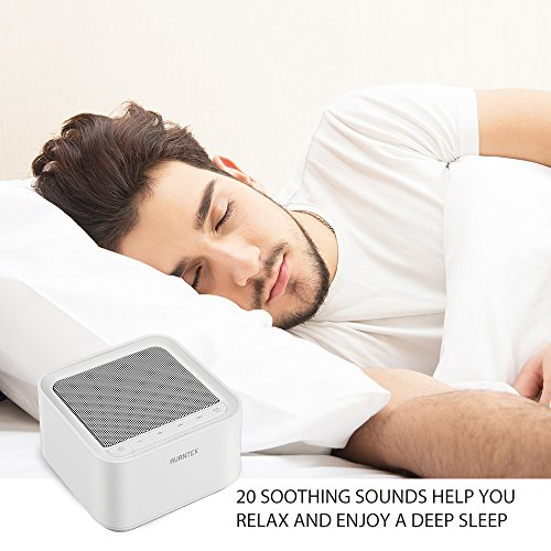 AVANTEK White Noise Sound Machine with 20 Non-Looping Soothing Sounds, 30 Levels of Volume and Maximum 7-Hour Timer Setting