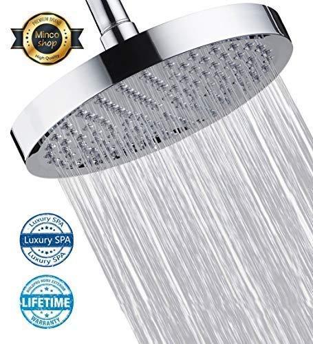 Minco shop Shower Head, High Pressure Rain Shower Head, High Flow 8 Fixed Showerhead Adjustable Direction Showerhead For Bathroom - Chrome Finsh
