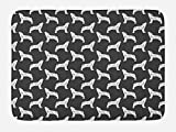 Lunarable Crying Wolf Bath Mat, Sketch Style Hand Drawn Wild Animal Silhouettes Woodland Creatures, Plush Bathroom Decor Mat with Non Slip Backing, 29.5 W X 17.5 W Inches, Charcoal Grey and White
