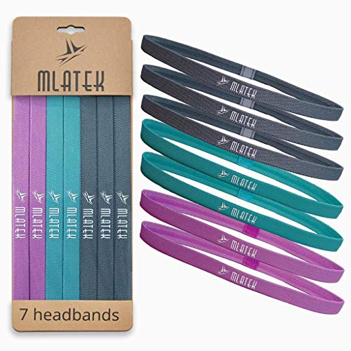 MLAtek Elastic Sports Headbands - 7 Pack Thin Skinny Bands for Women and Men - Mini Head Bands with Non Slip Silicone Grip - Headband for Athletics, Running, Soccer, Jogging, Workout, Gray/Blue/Pink