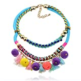 Lureme Bohemian Handmade Boho Pom Pom Necklace Tassels Charms for Women and Girls (nl005678)