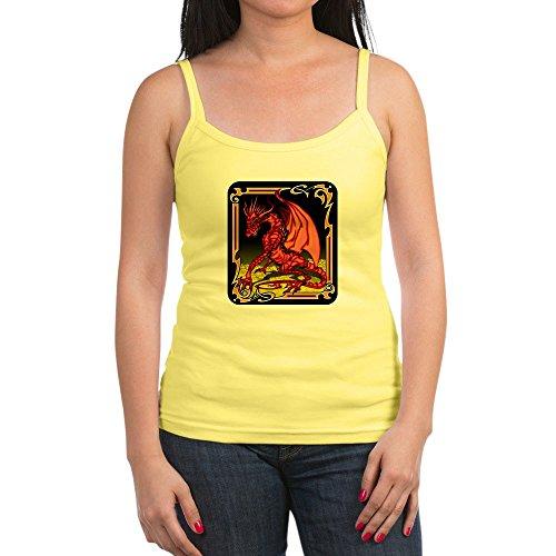 Royal Lion Jr. Spaghetti Tank Red Dragon Gold Tapestry - Lemon, XL
