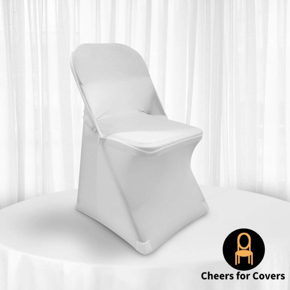 White Folding Chair Covers for Wedding 4 pcs Spandex Slipcovers Linens for Dining Banquet and Party. Universal Cloth for Bridal Chair. Blanco Forros ...