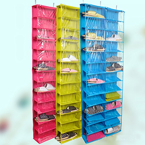 GreenSun(TM) Closet ware Clear Over-the-Door 26-Pocket Shoe Organizer, Washable Polyester Shoe Rack, Hanging Shoe Storage Bag