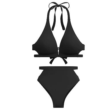 84d7a18eaf Amazon.com: High Waisted Swimsuits Bikini for Women High Rise Cutout Bottom  V Neck Top Halter 2 Piece Bathing Suits: Clothing