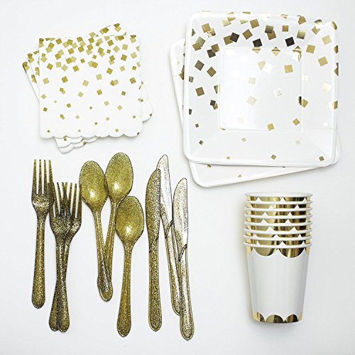 Gold-Dessert-Paper-Plates-Napkins-Cups-and-Cutlery-Party-Collection