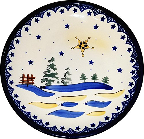 Pottery Christmas Plate (Polish Pottery Christmas Dessert or Breakfast Plate