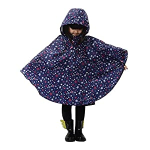 Dopobo Fashion Stylish Stars Hooded Raincoat Lovely Cute Rain Jacket Rainwear Poncho Fast Dry for Children Kids by Dopobo