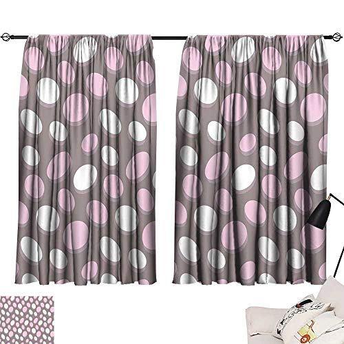 Ediyuneth Navy Blue Curtains Geometric,Retro Oval Pattern Circles Abstract Pale Vintage Elliptical Design,Warm Taupe Pink Cream 72