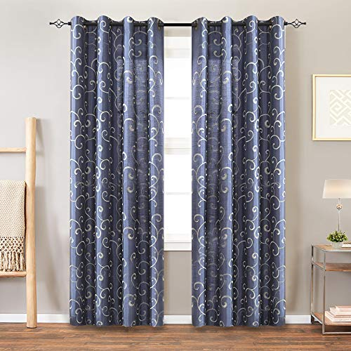Faux Silk Swirl Embroidered Grommet Top Curtains for Bedroom 84 inches Long Embroidery Curtain for Living Room, 1 Pair, Blue