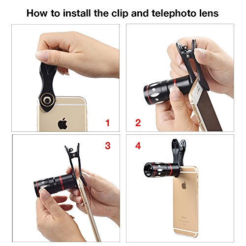 Apexel 5 in 1 Camera Lens Kit - Telephoto + Fisheye + Wide Angle & Macro + Wireless Shutter with Mini Tripod + Phone Holder for iPhone 11/XS Max/X/8/7 Plus Samsung Galaxy S10/S9 Plus OnePlus Phone