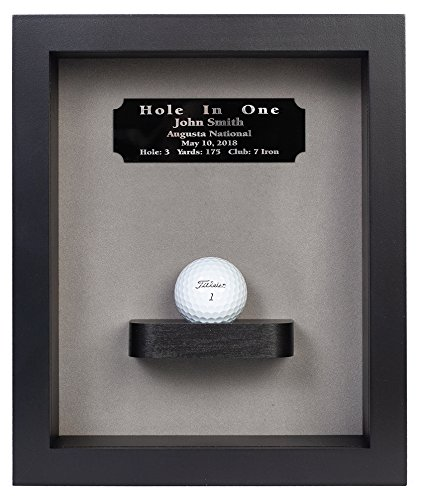 Golf Trophy Shadow Box - Eureka Golf Products Hole-In-One Shadow Box with Ball Shelf-Free Engraved Plate (Black)