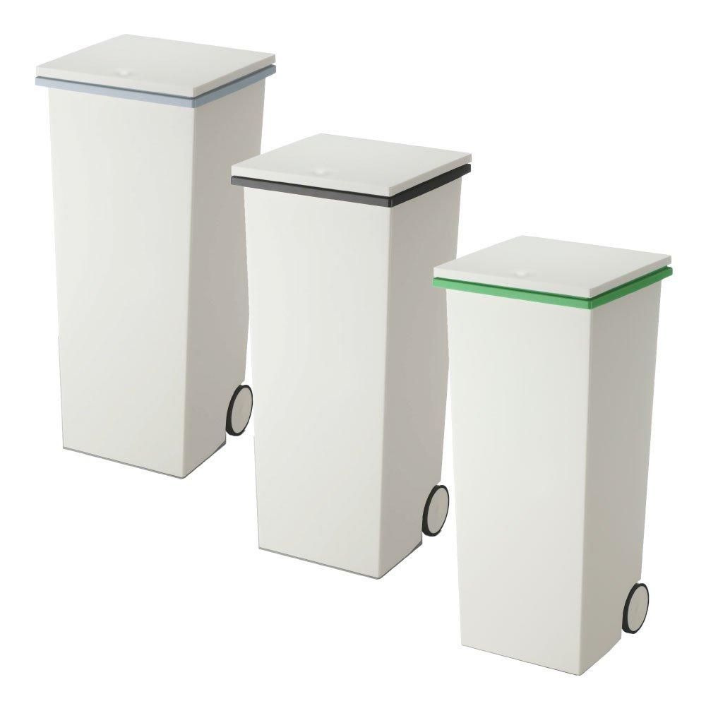 岩谷マテリアル kcud スクエア プッシュペール 3個セット ゴミ箱 ごみ箱 ダストボックス おしゃれ ふた付き クード (Wグレー×Wブラック×Wグリーン) B0742HK3JR Wグレー×Wブラック×Wグリーン Wグレー×Wブラック×Wグリーン