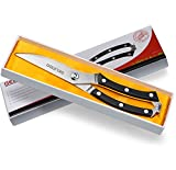 Gelindo Kitchen Scissors - Heavy Duty Stainless Steel- Spring Loaded Shears - Sharp Blade- Safety Clip- Rust Free- Comfortable Handle- Great for Poultry, Fish, Chicken, Beef, BBQ, Herbs & Plastic