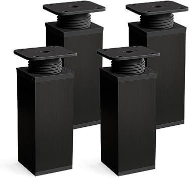 sossai® Patas para muebles MFV1 | 4 piezas | altura regulable | Diseño: Negro | Altura: 100 mm (+20mm) | Perfil cuadrado: 40 x 40 mm |Tornillos ...