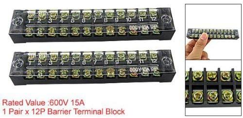 R TOOGOO 2 x Double rangee Borne a vis Connecteur de fil 12 Position TB-2512 600V 15A