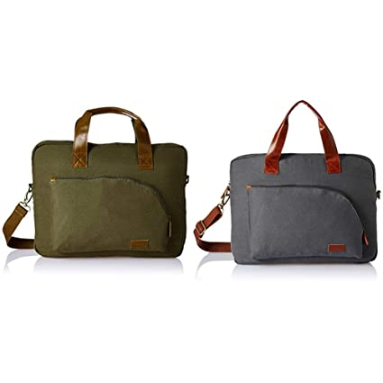 af7add8160fc Ruosh Canvas 38 cms Green Messenger Bag + Canvas 38 cms Grey Messenger Bag ( mes-bag-5533 + mes-bag-5502)  Amazon.in  Bags