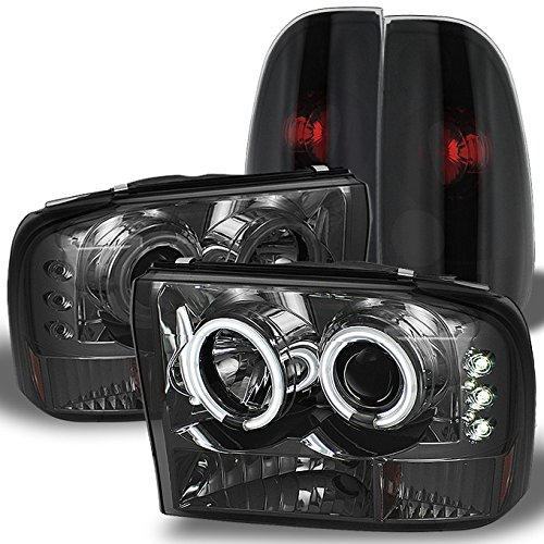 For 99-04 F250 F350 F450 F550 Superduty Smoked CCFL Halo Projector Headlights+ Black Smoked Tail Lights
