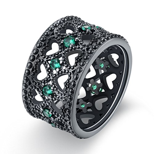 FENDINA Vintage Style Open Heart Cubic Zirconia Wide Band Statement Cocktail Ring 19k Black Gold Plated(7)
