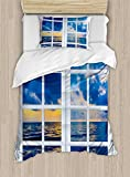 Ambesonne Landscape Duvet Cover Set Twin Size, Sunset on The Sea Scenery from Window with Open Curtains Horizon Silence Relaxing, Decorative 2 Piece Bedding Set with 1 Pillow Sham, Blue White