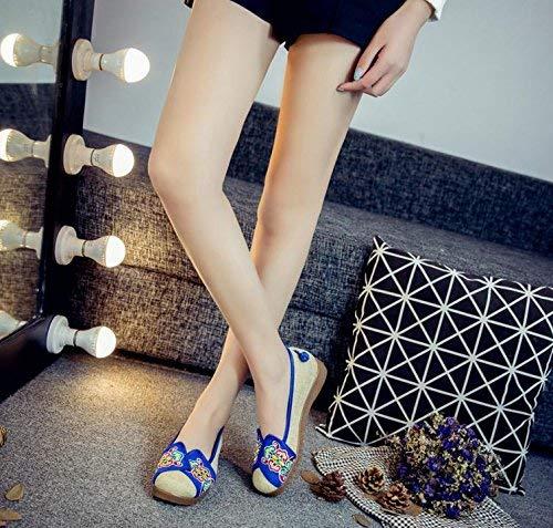 Eeayyygch Bestickte Schuhe Sehnensohle Ethno-Stil weibliche weibliche weibliche Stoffschuhe Mode bequem lässig im Anstieg blau 41 (Farbe   - Größe   -) 2fd0ac