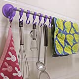 Dealglad New High Quality Super Strong Vacuum Sucker Stainless Steel Towel Bars Bathroom Towel Hanger Rack Holder (Purple)