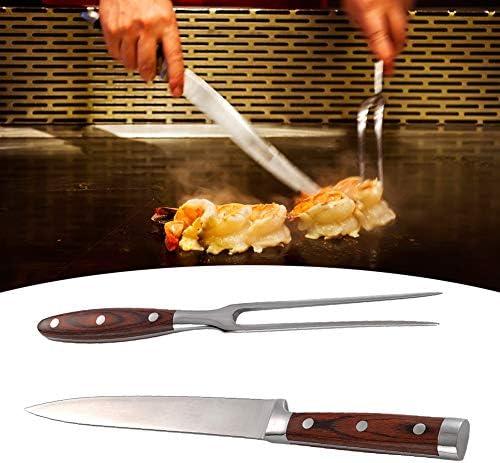 Fourchette à barbecue - Ensemble d'outils de fourchette à barbecue Couteau Ensemble de fourchette et couteau à découper en acier inoxydable pour barbecue