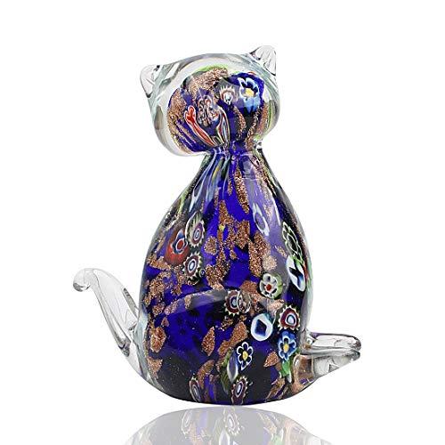 (Hophen Murano Art Glass Blown Handmade Cat Animal Figurine Sculpture Home Decor Collectible Statue Paper Weight Gift Ornament (Purple) )